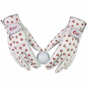 WENYOG Gant De Golf 1 Gants de Golf de Paires Femmes en Cuir Souple Fit Sport Grip Gants durables Floral antidérapants Gants Respirant Sport (Size : Size 20)