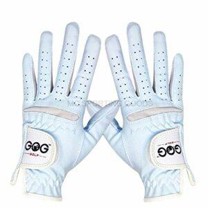 WENYOG Gant De Golf 1 Paire Sky Professional Respirant Bleu Tissu Doux for Les Femmes à Gauche et Main Droite (Color : Sky Blue, Size : Size 17)