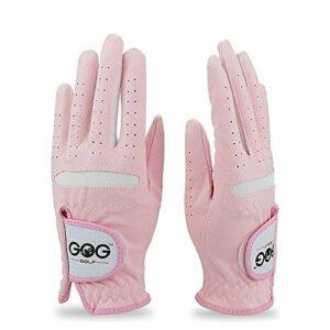 WENYOG Gant De Golf Professionnel Respirante Rose Tissu Doux for Les Femmes à Gauche et à Droite 1pair Main (Color : Pink, Size : Size 17)