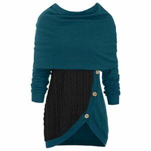 XIAOLONGWANG Mini Robe,Pull Tricot Femmes Casual Col Haut Manches Longues Slim Fit Sweater 4XL Bleu
