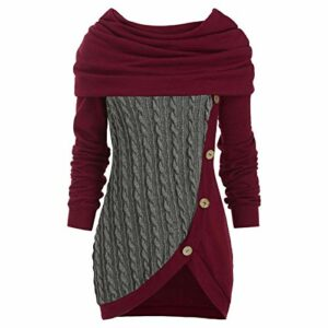 XIAOLONGWANG Mini Robe,Pull Tricot Femmes Casual Col Haut Manches Longues Slim Fit Sweater 4XL Couleur