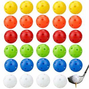 YGHH 30 Pièces Pratique des Balles de Golf, Balle de Golf Couleur, Coloré Plastique 26 Trous Balles de Golf Creuses Air Flow pour Swing Practice, Driving Range (6 Couleurs)