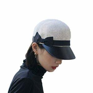 YHX Mao Hat Girl Automne et Hiver, Une centaine de Mode littéraire Casual Simple Une centaine de Laine Langue de Canard Casquette de Baseball