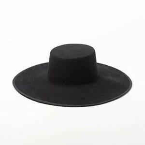 YTO Automne et Hiver Nouveaux modèles, Couleur à Double Couche, Laine Plate Haut Grand Chapeau Avant-Toit, Mode féminine, Forme de passerelle Grande Le Long du Chapeau