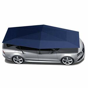 ZXYWW Tente Semi-Automatique de Voiture Portable, Voiture Plié Tente Parapluie Portable Abri d'auto avec Protection Solaire Anti-UV, imperméable, Coupe-Vent Neige Manuel Carport, Bleu