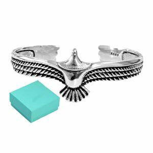 ZYANUGR Bracelet Manchette Aigle en Argent Sterling 925, Bracelet Punk rétro en Acier Inoxydable, Bracelet réglable à extrémité Ouverte, Largeur 23 MM (B)
