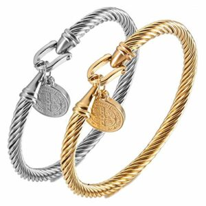 ZYANUGR Saint Benedict Armband Männer Frauen, Stilvolle Edelstahl Twisted Cable Armreif, Seliger Zauber der Liebe (A)