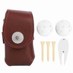 DAUERHAFT avec Golf Ball Tee Divot Sac de Ceinture de Golf Souple et Confortable Grande capacité Taille compacte PU, pour Les Joueurs de Golf, pour Accessoire de Golf, pour l'entraînement(Brown)