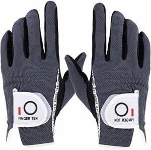 FINGER TEN Doigt Dix Hommes Paire de Gant de Golf la Main Value Pack Hot Wet Pluie Grip, Couleur Noir Gris Fit Small Medium Large XL, Gris, S-1 Pair