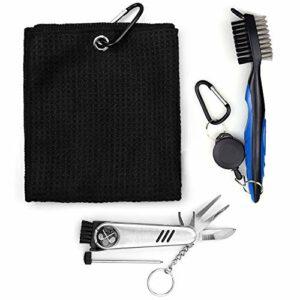 Kit d'accessoires de golf Otematik – Brosse de golf et serviette de golf en microfibre – Outil de réparation pliable avec marqueur de golf – Kit d'outils de nettoyage 3 en 1 (noir)
