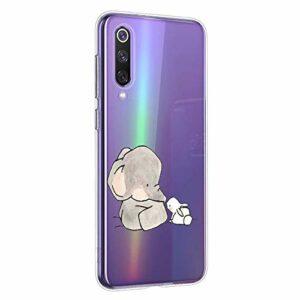 Oihxse Compatible pour Huawei P9 Plus Coque [Mignon Transparente Éléphant Lapin Motif Séries] Housse TPU Souple Protection Étui Ultra Mince Anti Choc Animal Case (A12)