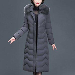 TJLSS Manteau Long en Duvet pour Dames Manteau matelassé en Coton épais à Capuche d'hiver pour Bureau Mince avec Capuche (Color : B, Size : XXXXX-Large)