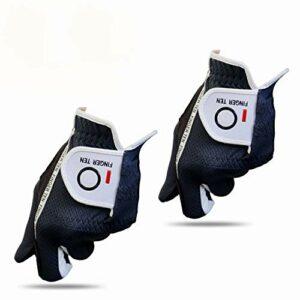 FINGER TEN Gants De Golf Hommes Homme Main Gauche Droite PoignEe Lot De 2, Gant Chaude Et Humide Durable Confortable Gants Doux S M L ML XL Noir Gris (Main Gauche(Worn on Left Hand)-Gris, XL)