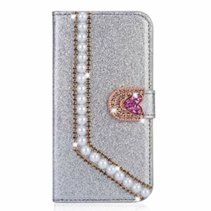 Miagon Coque Diamant pour Samsung Galaxy S21,Glitter Strass Perle Cœur PU Cuir Étui à Rabat Portefeuille Stand et Porte-Carte Housse de Protection Cover,Argent