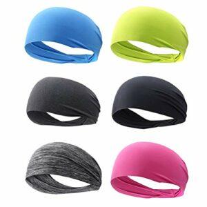 ABOOFAN Lot de 6 bandeaux de sport élastiques à cheveux à séchage rapide pour yoga, course à pied, fitness, gym, exercice Couleur aléatoire