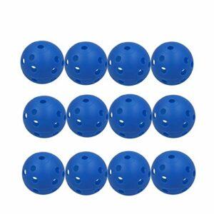 Balles De Golf Pour Pratiquer Plastique Distance Creuse Airflow avec Trous valeur 12 24 pièces, Balle d'entraînement pour Les Sports intérieur extérieur Pour les enfants Jaune blanc (12 Pcs, Bleu)