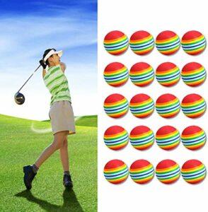 Balles de golf Practise Mousse d'Éponge Pratique arc en ciel 42mm Value 12 20 Pcs, Golf Balle Aide à l'entraînement de Intérieur pour Débutants Enfants et Amateurs hommes femmes (20 Pcs-Couleur)