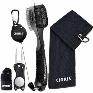 CLORIS Serviette de golf en microfibre gaufrée | Club Groove Cleaner avec rallonge rétractable et clip | Outil pliable avec marqueur à bille magnétique (noir)