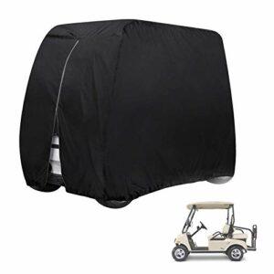 Couverture De Voiturette De Golf 4 Voitures De Club Passagers, Tissu Oxford 210d Enduit d'une Enceinte De Golf Imperméable Et Durable Argentée pour EZ Go Et Yamaha,285x122x168cm