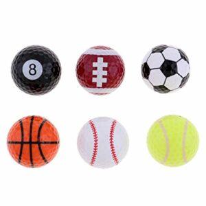 F Fityle Lot de 6 Balles de Golf à Thème Sportif par Lot de 6 Balles de Fantaisie, Idée Cadeau pour Golfeur