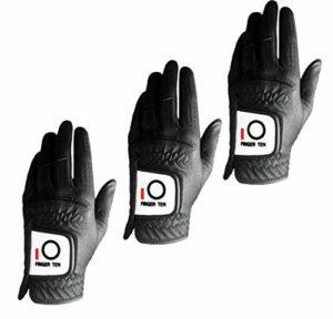 FINGER TEN Lot de 3 gants de golf pour homme – Noir – Pour main gauche – Anti-pluie – Doux et durable – Tailles S, M, L, XL – Noir – Taille L