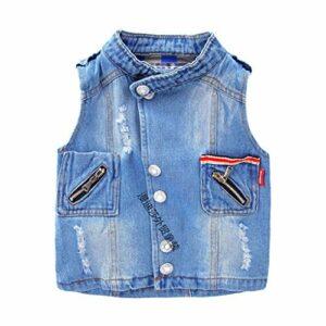 Garçons Manteau Filles Denim Cowboy Gilet Gilet sans Jeans Vestes pour Enfants Vêtements Blue 3T