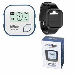 GolfBuddy Ensemble : 2016 Golf Buddy Voice 2 Voice2 GPS parlant facile à utiliser + bracelet Golf Buddy (Blanc), Blue Voice 2 + Black Wristband