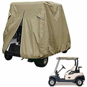 MILECN Fairway Classic Accessories Couverture Facile À Installer pour Voiturette De Golf,Deux Sièges, Housse De Voiture De Golf Quatre Places, Kaki,L