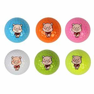 T TOOYFUL Balle de Golf à Distance Maximale avec Motif Animal Cochon (Paquet de 6)
