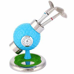 TAKE FANS Mini sac de golf de bureau en alliage d'aluminium avec stylos de golf, horloge souvenir d'événement, cadeau fantaisie (bleu)
