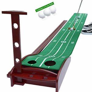 Tapis de Golf somptueux Putting Green Golf Practice Mat avec Fonction de Retour Automatique de la Balle Tapis de Pratique de Golf Portable pour Crystal Velvet Mat et Base en Bois Massif