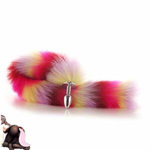 tyufgt6u Fox Tail Anâ.Les B ~ ütt Pùg Cospaly Massager-New Rose Pink-S