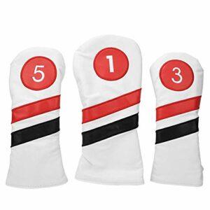 Vbest life 3pcs Housse de Protection de tête de Golf, revêtement en Cuir PU épaissir la tête de Club de Golf Couvre la tête de Fer(Blanc)