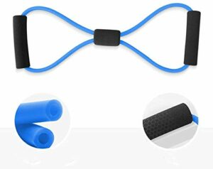VNMG Beginners Use Figure 8 Rally Resistance Band, Elastic Rope Breast Expander, Open Shoulders Beauty Back Stretch Rally Rope for Home Workout,Yoga, and Strength Training (1 Pcs,Blue)