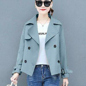 Wuyuana Manteau Coupe-Vent pour Femmes Coupe-Vent boutonné boutonnel à Manches décontractées à Manches décontractées Longues Manteau de Femme en Vrac Womens Coats (Color : Blue, Size : L)