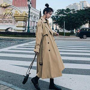 Wuyuana Manteau Tranchée pour Femmes Robe à mi-Longueur Double Boutonnage Womens Coats (Color : Khaki, Size : Small)