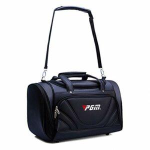 WYSTAO Hommes Noirs PU Bagages Sac Multi-Fonctions Vêtements Sac de Golf Vêtement imperméable et résistant à l'usure à Grande capacité Respirante épaule Portable Sac (Color : Black)