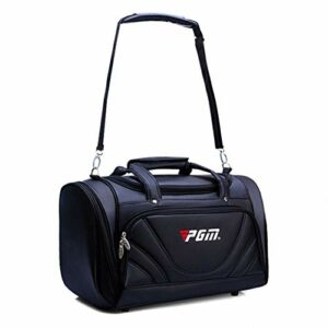 WYSTAO Multi-Fonctions Vêtements de Golf Vêtements Sac Hommes Noir PU Bagages Sac étanche et résistant à l'usure à Grande capacité Respirante épaule Portable Sac (Color : Black)