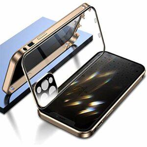 ZXZXC Étui Boucle Double Face, étui Transparent magnétique avec verrous sécurité, étui métallique adsorption magnétique 360 ° avec Objectif caméra pour 12/11 Séries (iphone 12 Pro,Golden)