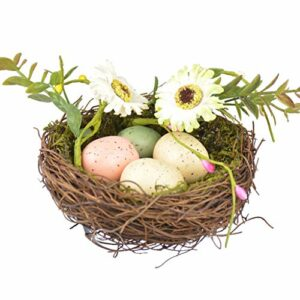 AERVEAL lit de nid, rotin Naturel Simulation nid d'oiseau Mousse Oiseau Oeuf Fleur Pâques décor Accessoire Bricolage