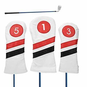 Alomejor 3 PCS Golf Club Head Cover PU Cuir en Bois Or Club Putter Headcovers avec Épaissir Doublure pour Protection(Blanc)