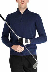 aoli ray Homme Golf Pulls 1/4 Zip Coton Manche Longue Sweatshirts Bleu Foncé S