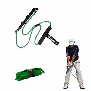Bande de puissance de golf, crochet rotatif à 360 degrés, point de tension fixe, avec boucle de porte de sécurité, peut être entraîné à l'intérieur et à l'extérieur (vert)