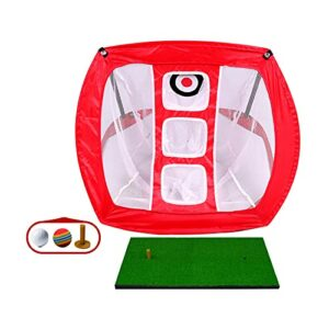 Bluting Golf Practice Net,Collapsible Golfing Target for Indoor/Outdoor Use,Portable Training Aid to Practice,Used Improve Accuracy,Red-B