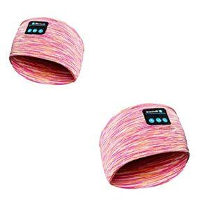 BNNEW 2 pièces Casque de Sommeil Bandeau Bluetooth, Casque sans Fil Sports Sleep Headband Casques avec Haut-parleurs stéréo HD Ultra-Minces Longue durée de Lecture (Rose)