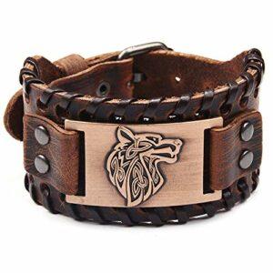 Bracelet Cuir Femme,Bracelet en Cuir De Style Nordique Marron À La Main Tressé Manchette Bracelet Tête De Loup Bracelets Argent Fermoir À Broche Unique pour Hommes Femmes Cadeau d'anniversaire