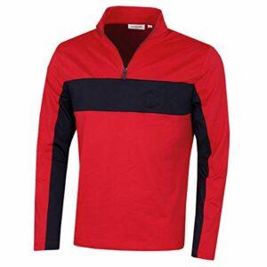Calvin Klein Hommes gaufrée Half Zip légère Mèche Golf Pull – Rouge/Marine – M