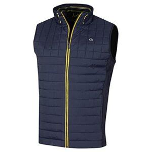 Calvin Klein Vardon 2021 Gilet de golf hybride léger matelassé stretch pour homme – Bleu – L