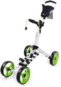 Chariot de Golf Pliant One-Click 4 roues golf push Panier – Léger, fermez-la push Push Push Caddy Panier, facile à ouvrir – Léger, Panier de pull compact pour hommes Femmes / Enfants Pratique et jeu