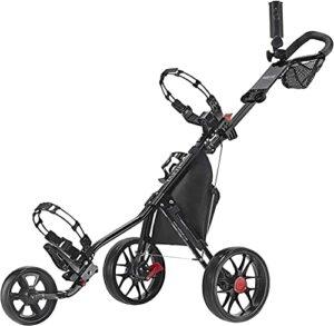 Chariot de Golf Pliant One-Click Chariot de golf Chariot de golf 3 roues Golf Push Panier – Super Lite Deluxe léger facile à plier Poussette de chariot de caddie pour un voyage en plein air Home Sport